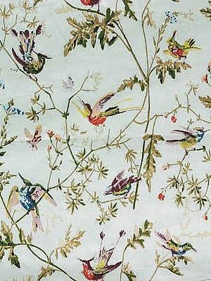 Cole & Son HUMMINGBIRDS DUCK EGG Fabric (With images
