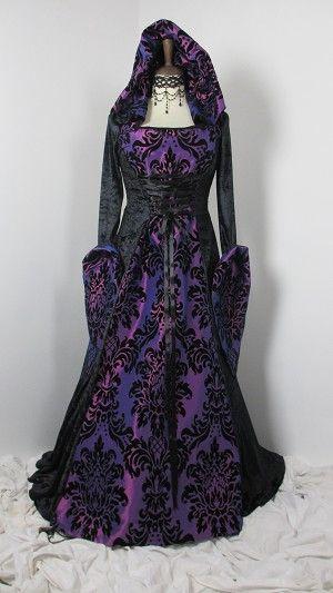 Purple Flocked Taffeta And Black Velvet Dress With Hood 4331 Jpg