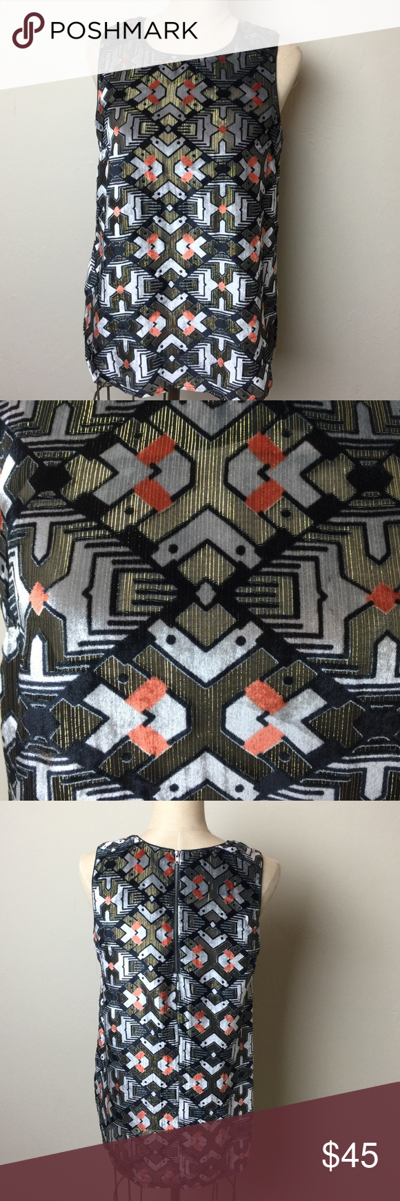 Anthro sheer metallic stripe/velvet print top Gorgeous geometric print combining black sheer material with metallic gold stripe and velvet. Rounded hem line. Rayon/nylon/metallic. Zip back. Unlined Meadow rue for Anthropologie Anthropologie Tops