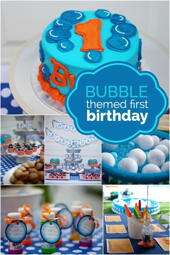 A Bubble Themed First Birthday Bubble Birthday Parties Boys 1st Birthday Party Ideas First Birthday Party Themes