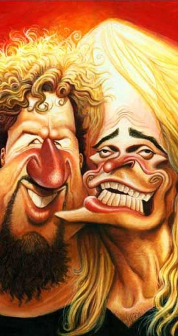 Sammy Hagar David Lee Roth Caricature Funny Caricatures Cartoon Faces