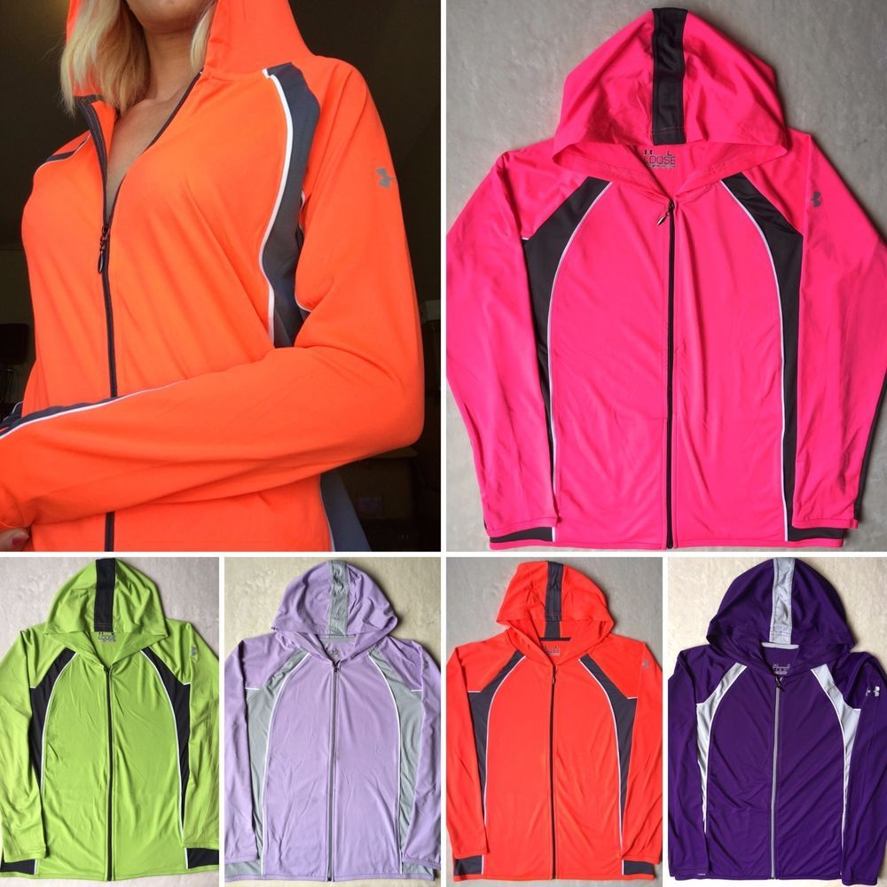 NEW Womens UNDER ARMOUR Heat Gear Full Zip Yoga Workout Running Hoodie Jacket…