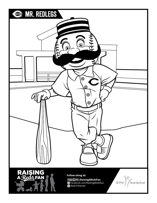 Mr Redlegs Coloring Sheet Cincinnati Reds Baseball Red Decor