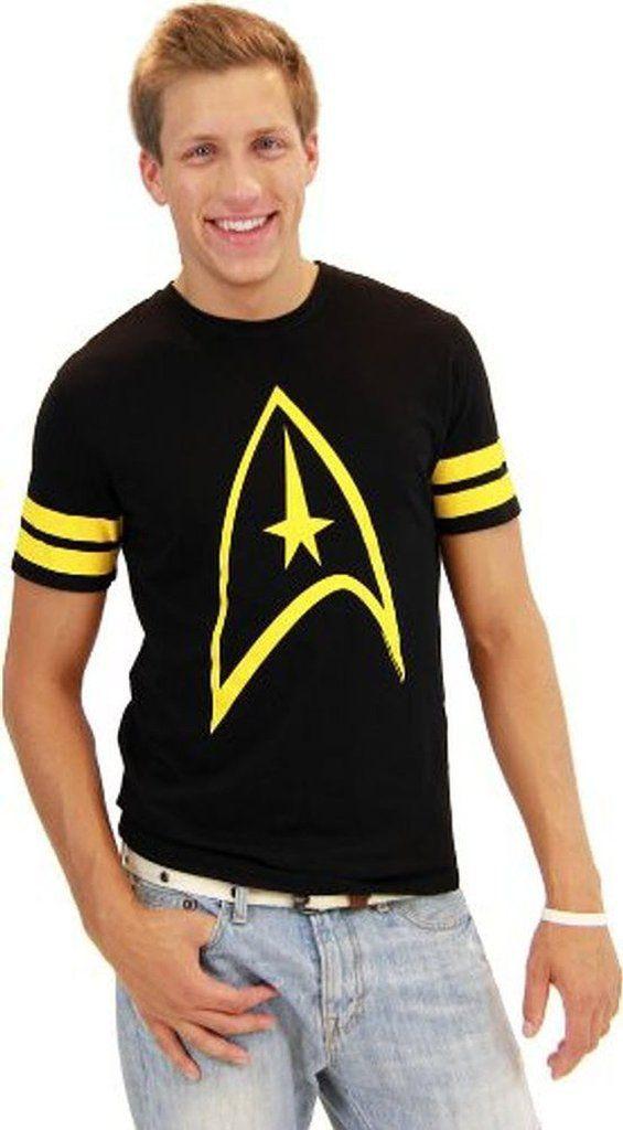 Star Trek Emblem Striped Sleeves T Shirt Star Trek Emblem Star