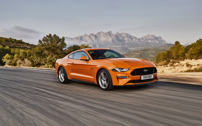 Download Wallpapers Ford Mustang Gt 2018 Orange Sports Coupe