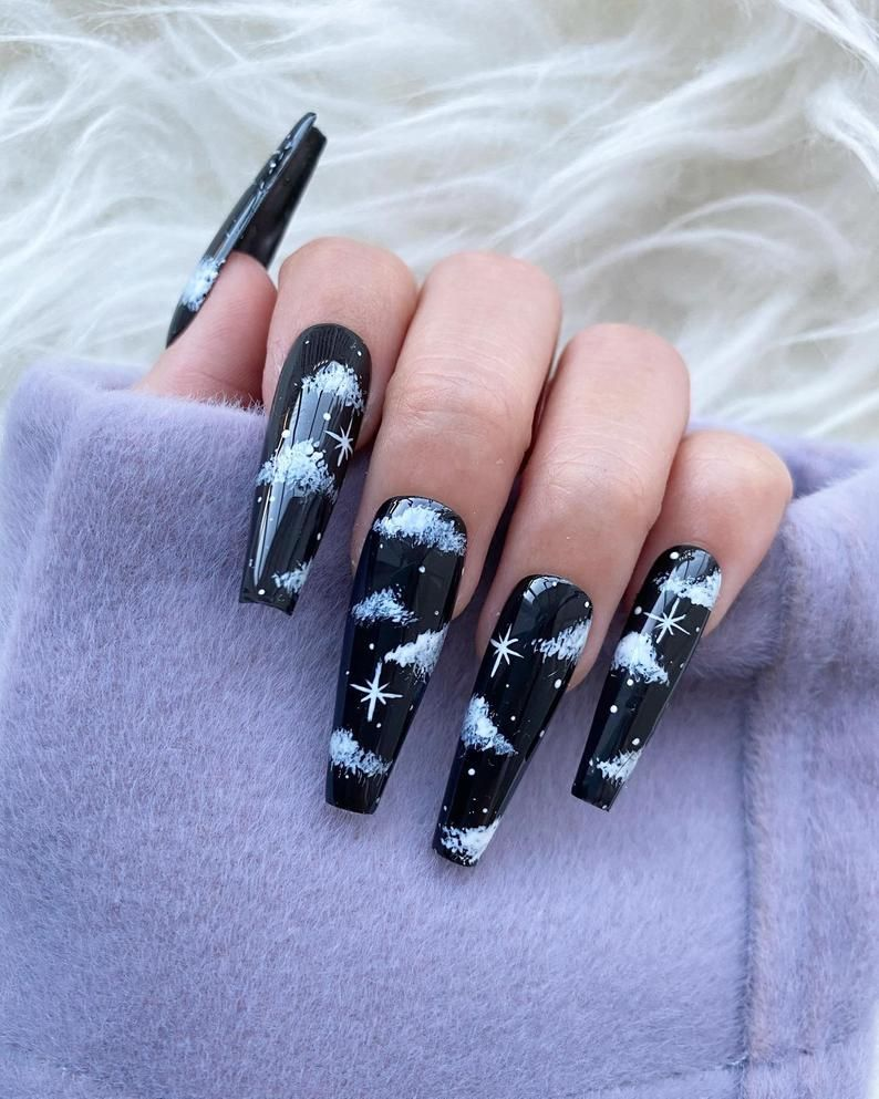 Reusable Black Night Cloud Press On Nails