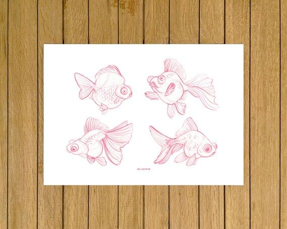 Goldfish Sketches Sketch Minimal Art Giclée Print Home | Etsy