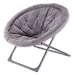 Giantex Oversized Large Folding Saucer Moon Chair Corduroy Round Seat Living Room Gray