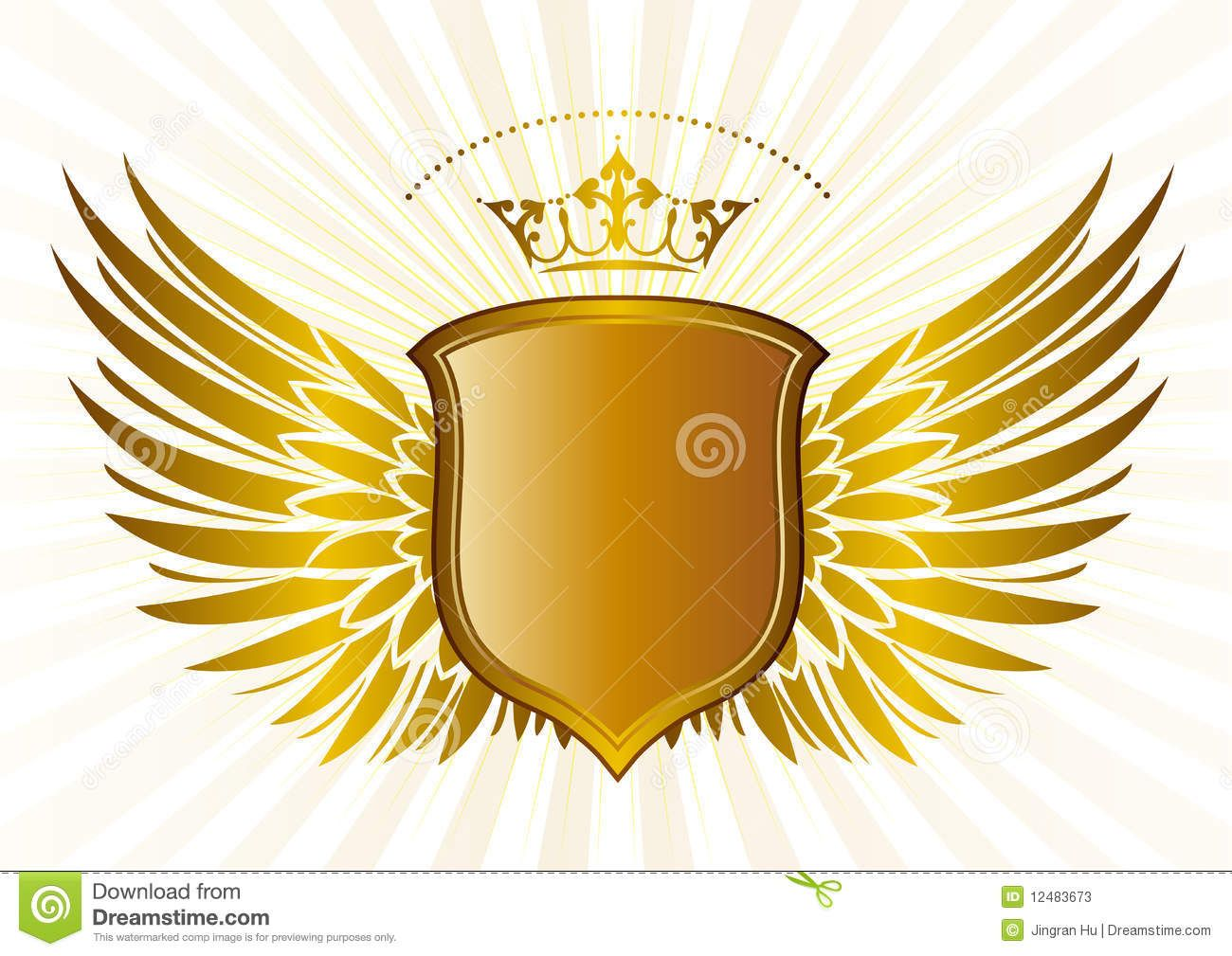 Shield With Wings Wings Logo Gold Business Card Wings