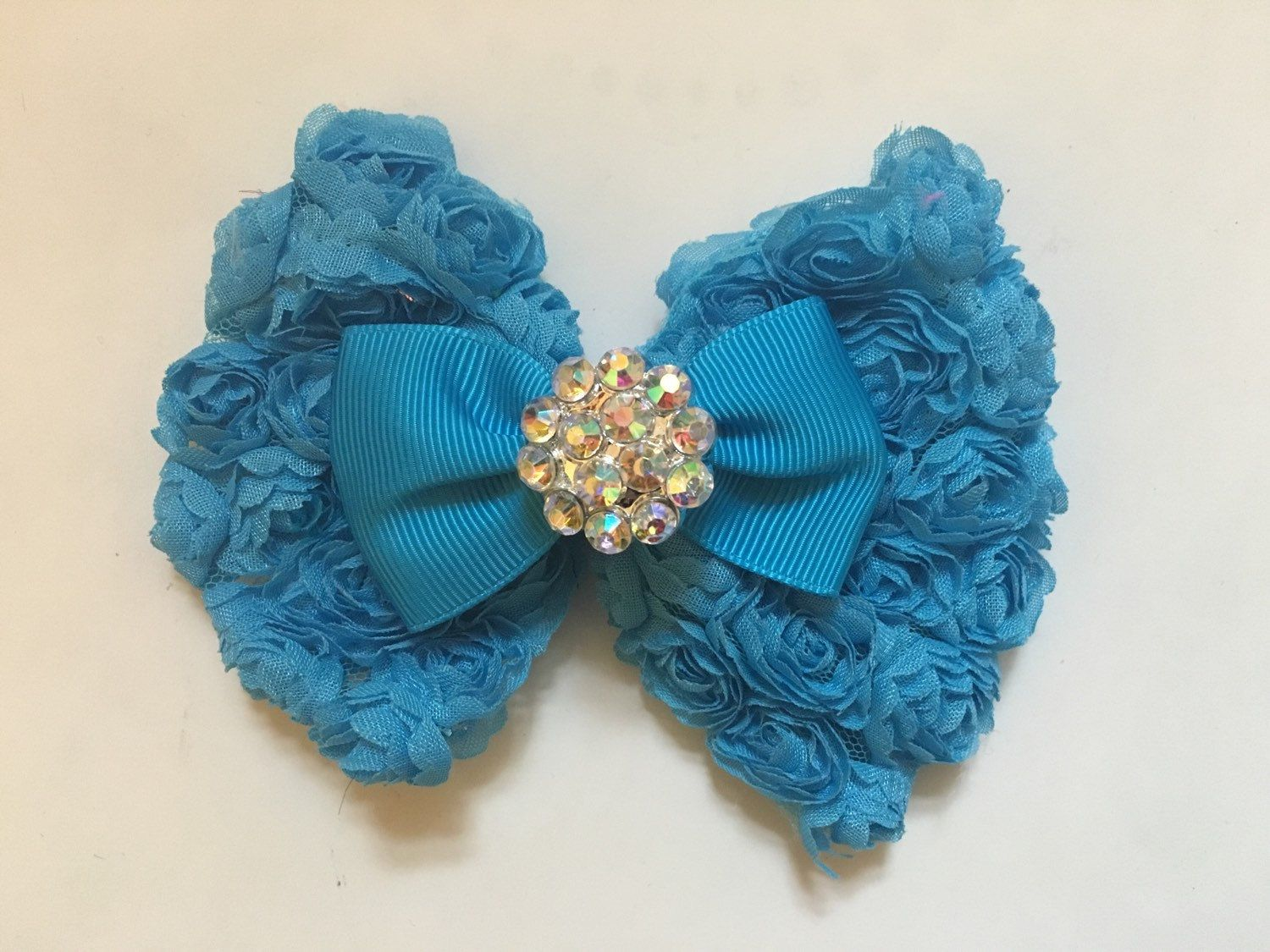 Turquoise blue periwinkle blue teal blue rosette hair bow flower turquoise blue periwinkle blue teal blue rosette hair bow flower girl bridal izmirmasajfo Image collections