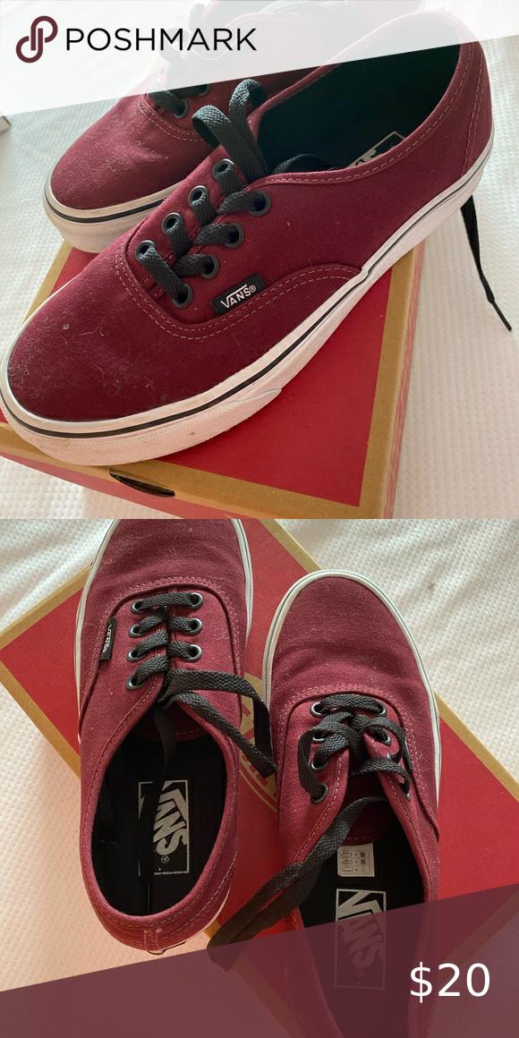 Vans burgundy kid shoes 5.5 size in