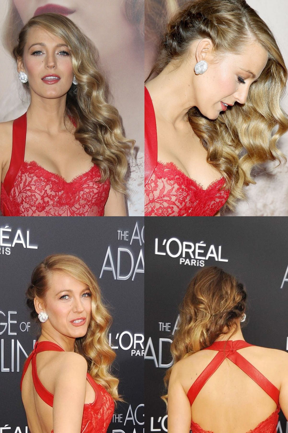 Image result for blake lively waves with braid bridesmaid hair