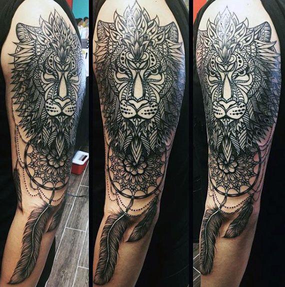 100 Dreamcatcher Tattoos For Men Divine Design Ideas Tattoos For Guys Tribal Lion Lion Arm Tattoo