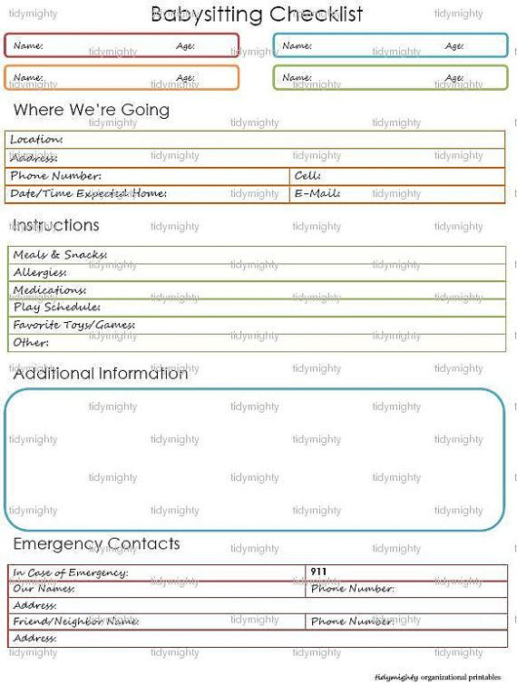 Babysitting Checklist / Child Care Notes Printable by tidymighty