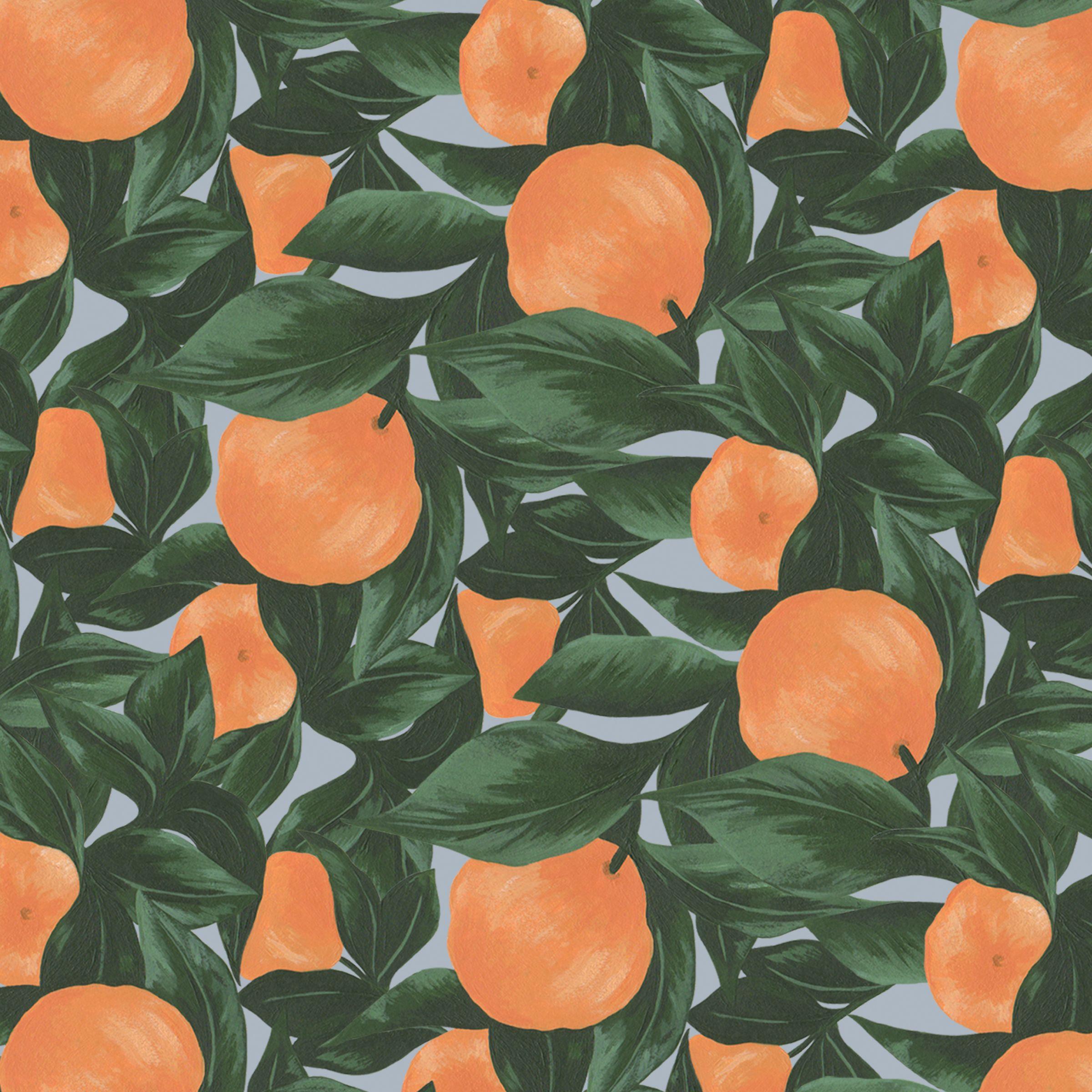Orange Fruit Leaf Paper