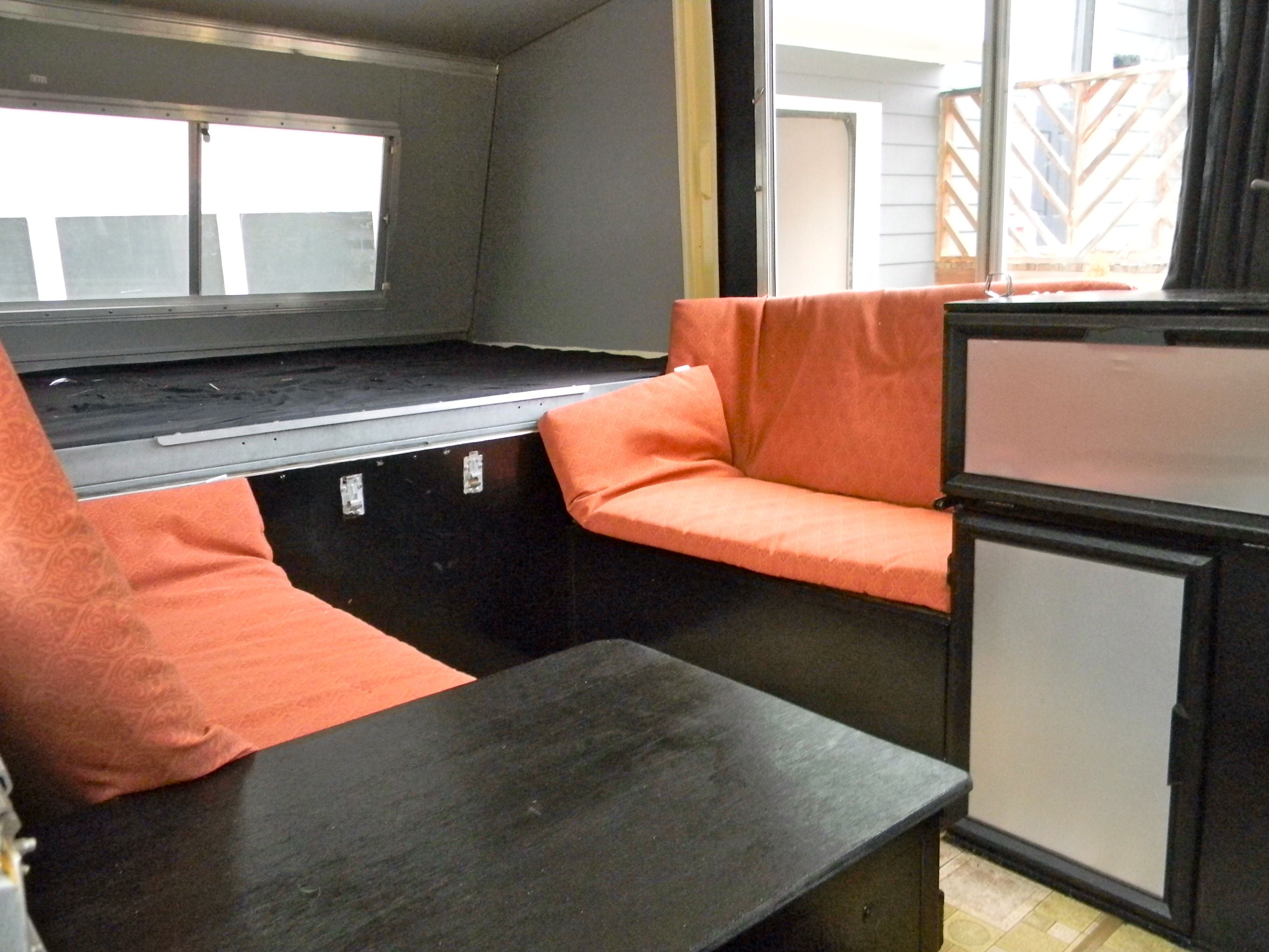 Apache camper dinette and bed end every surface repainted outdoor cushions from target popup campertrailer
