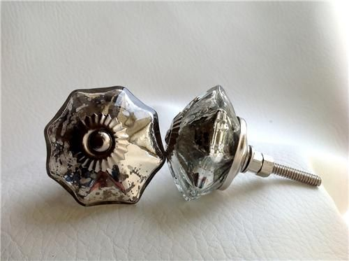 Antique Style Vintage Silver Mercury Glass Cabinet Knobs Drawer Pulls