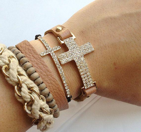 Cross stacking bracelets.