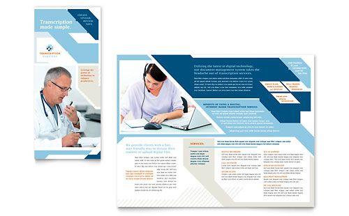 medical transcription tri fold brochure template trifold brochure