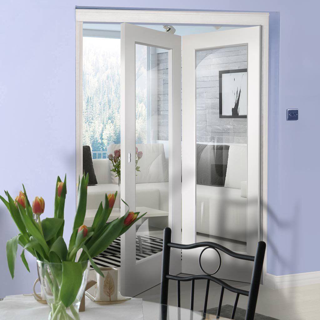 Bespoke Thrufold Cesena White Glazed Folding 2+0 Door
