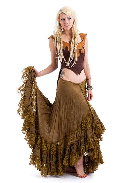 c863ba3be0 LONG GYPSY SKIRT flamenco skirt long wrap skirt olive by AltshopUK ...