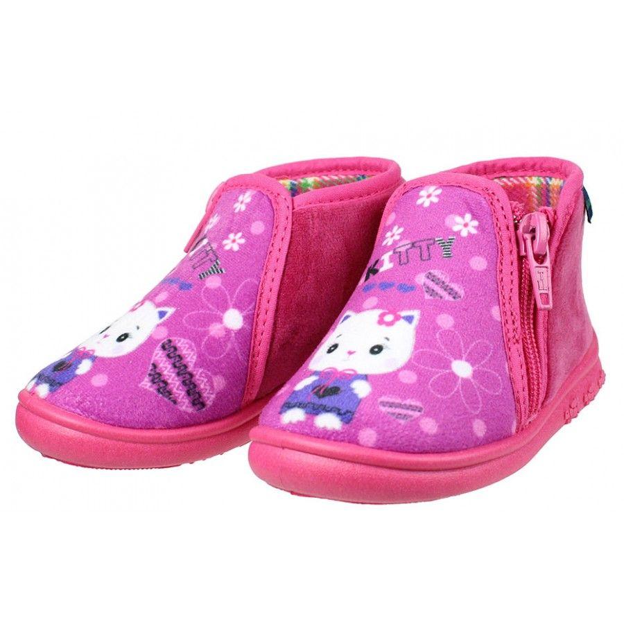 5277fddb9a0 Ανατομικό Παιδικό Παντοφλάκι Kitty-1 | www.happy-feet.gr | Shoes ...