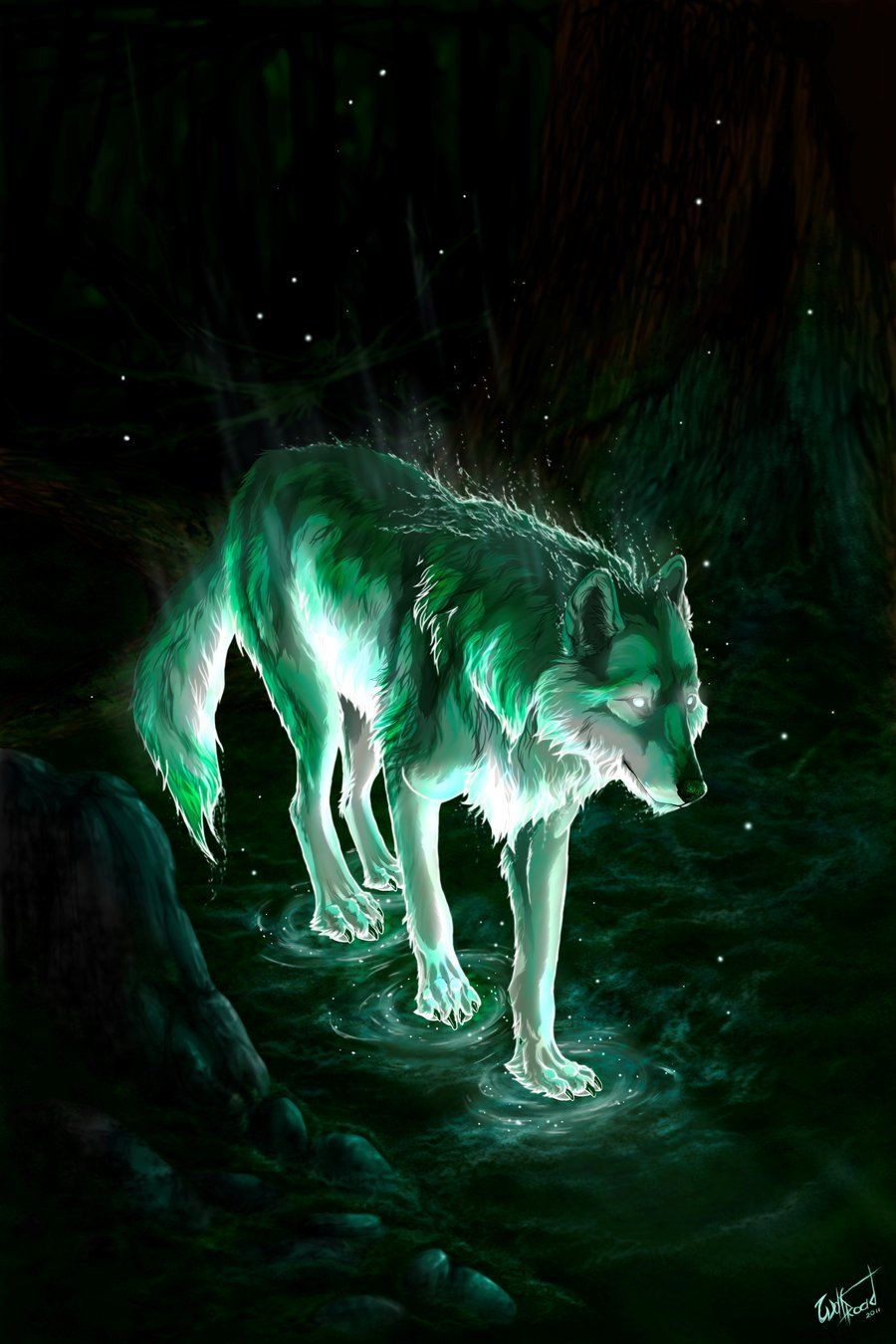 On the night of the starless sky the star wolf comes down for Cool fantasy drawings