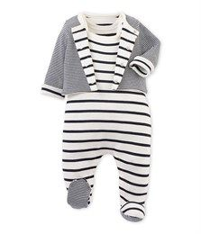 Ensemble bébé dors bien et cardigan beige Coquille   bleu Abysse - Petit  Bateau e88583281aa