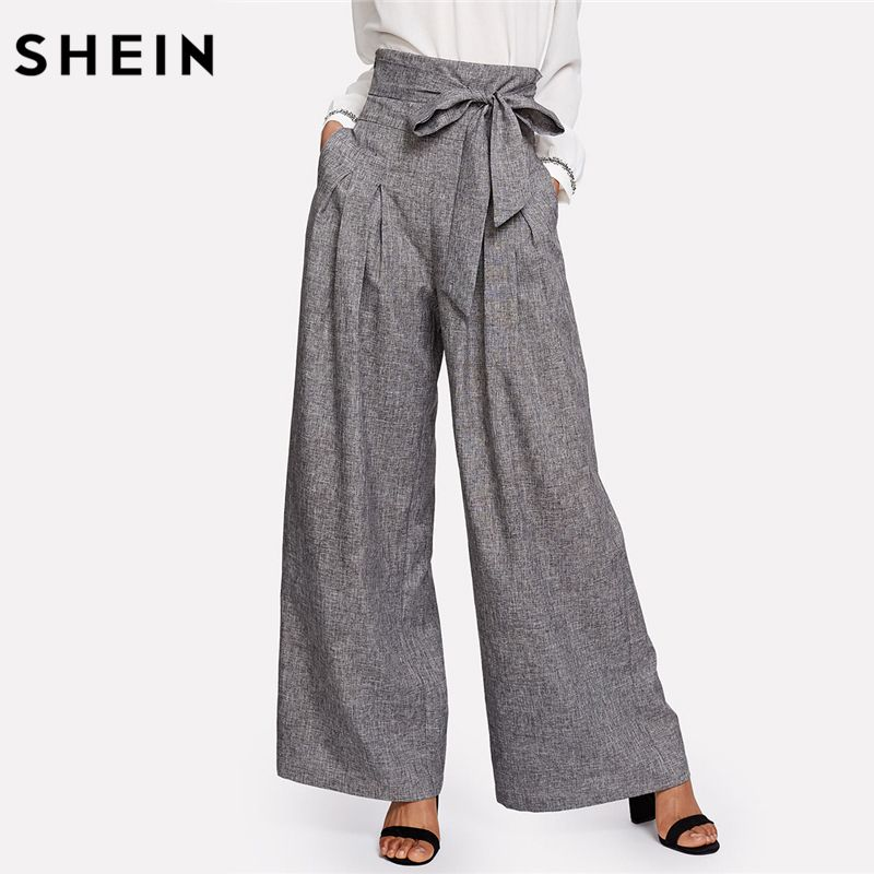 ad00d3c7441c2 Wide Leg Pants Zipper Fly Loose Trousers Grey High Waist Self Belted Box Pleated  Palazzo Pants