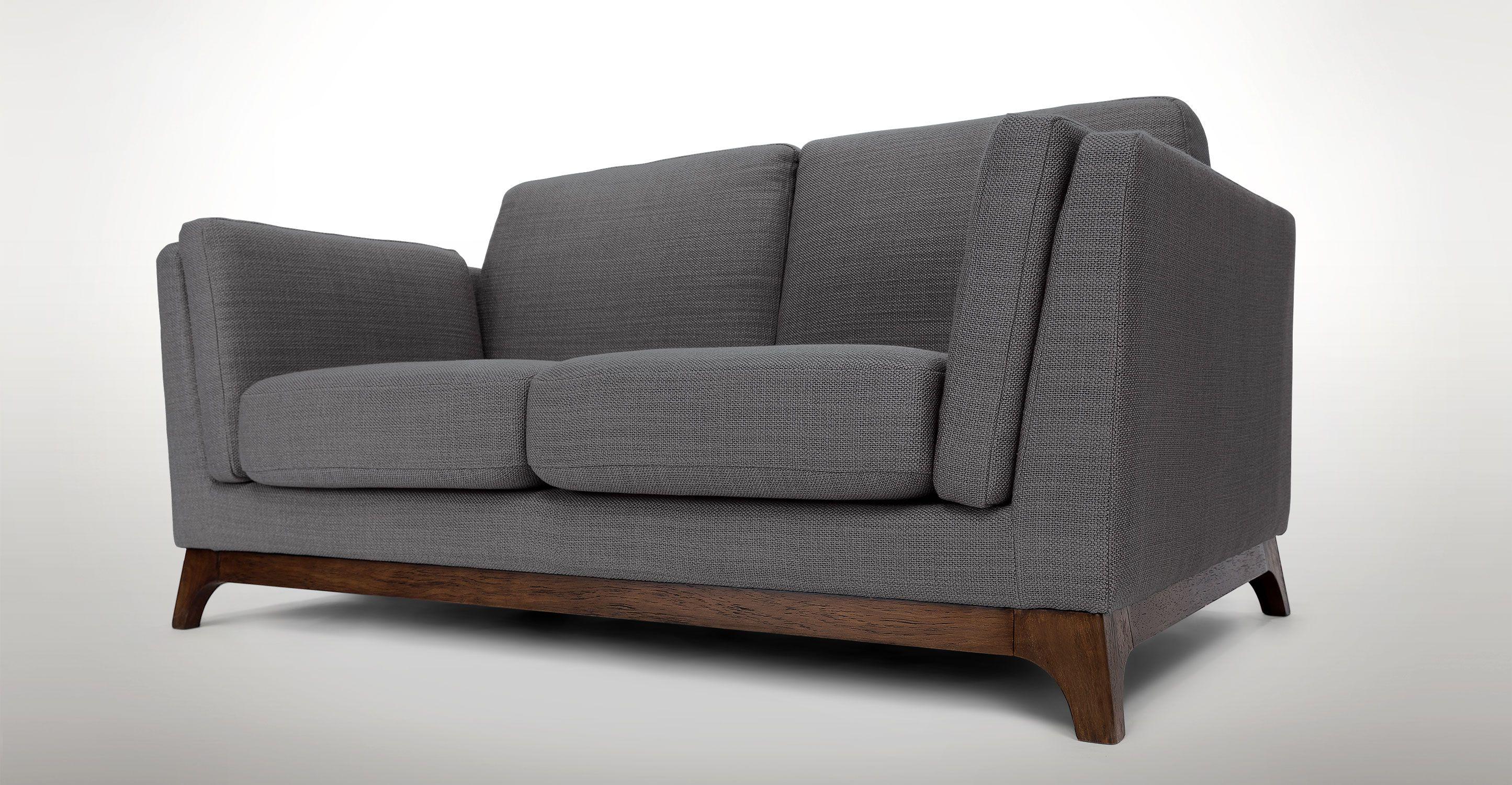 Gray Fabric Loveseat Solid Wood Legs Article Ceni Modern