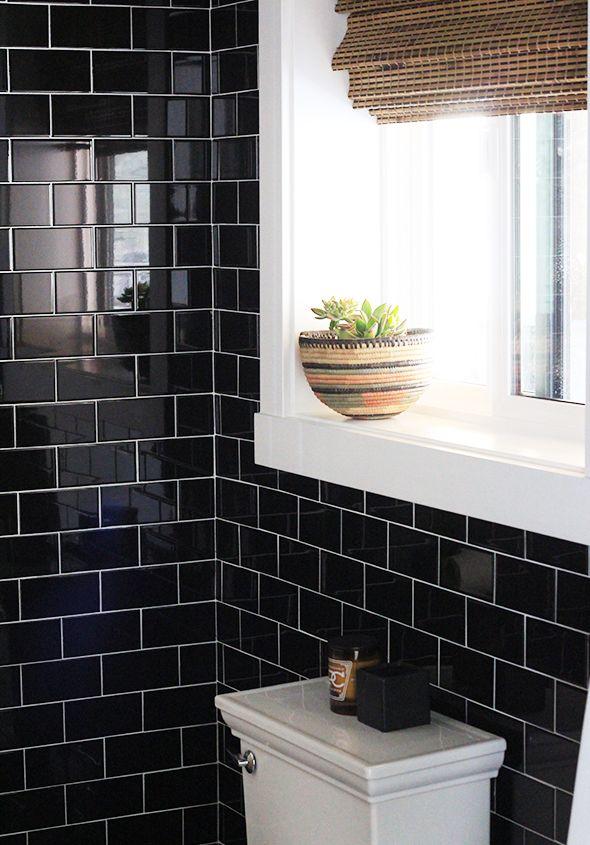 Warming Up A Black Tiled Bathroom - Little Green Notebook | black ...
