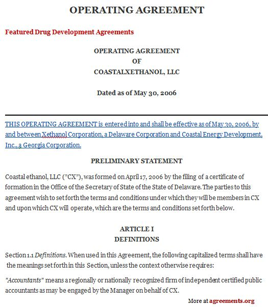 Operating Agreement, Sample Operating Agreement Template - business separation agreement template