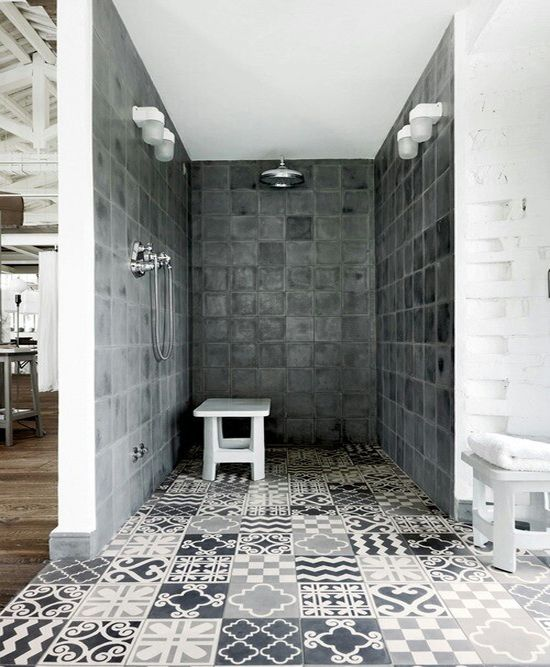 Mosaic and tiled shower oom