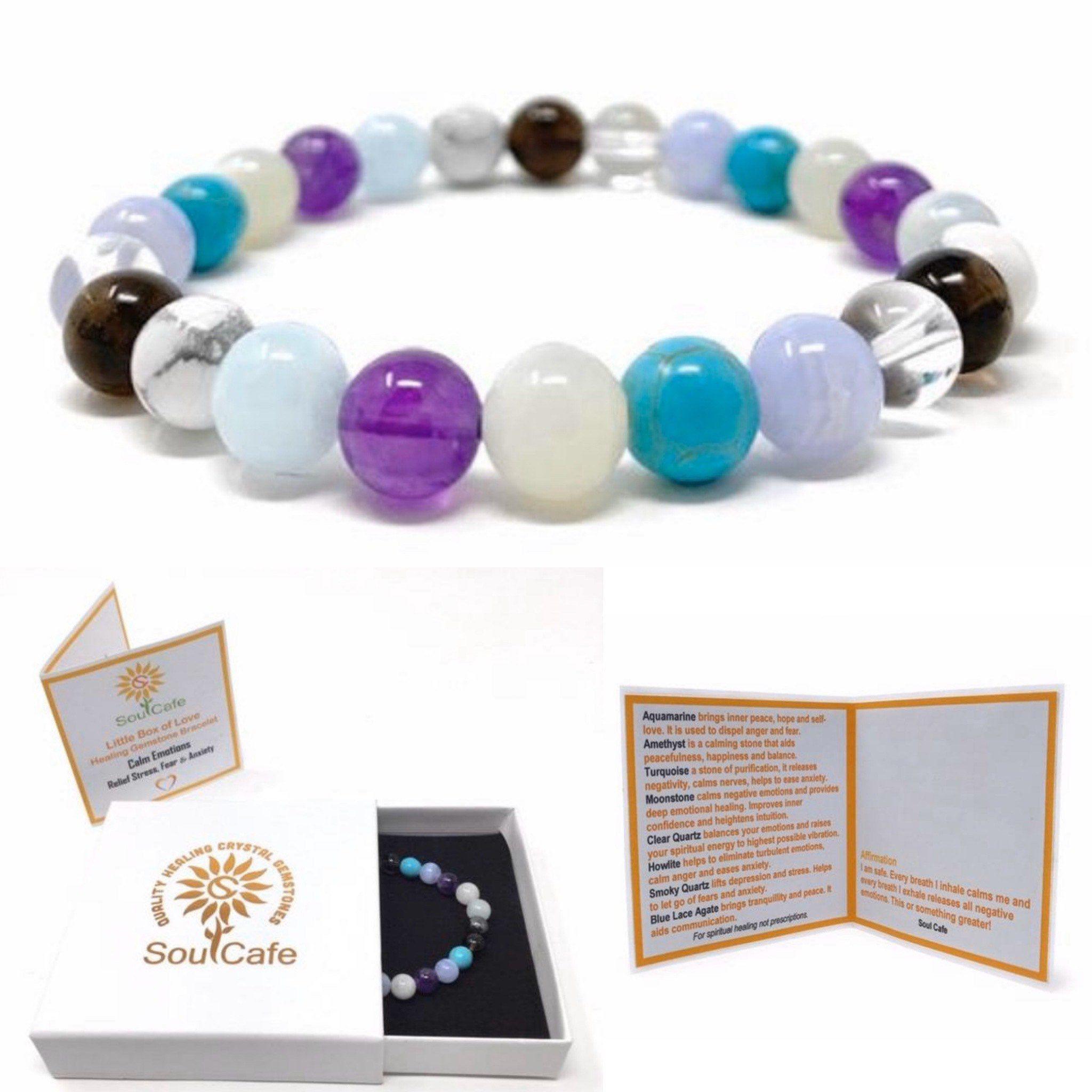 Calm Emotions Power Bead Bracelet Healing Crystal Gemstone Etsy In 2020 Beaded Bracelets Bracelet Gift Box Crystals And Gemstones