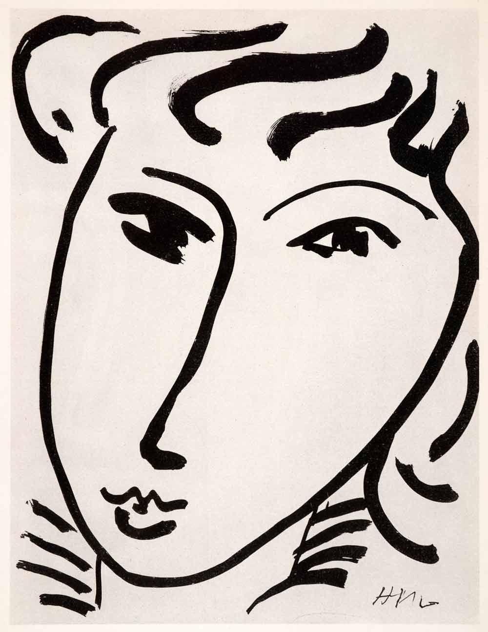 1969 Photolithograph Henri Matisse Woman Face Portrait Chinese Ink Modern XDB7