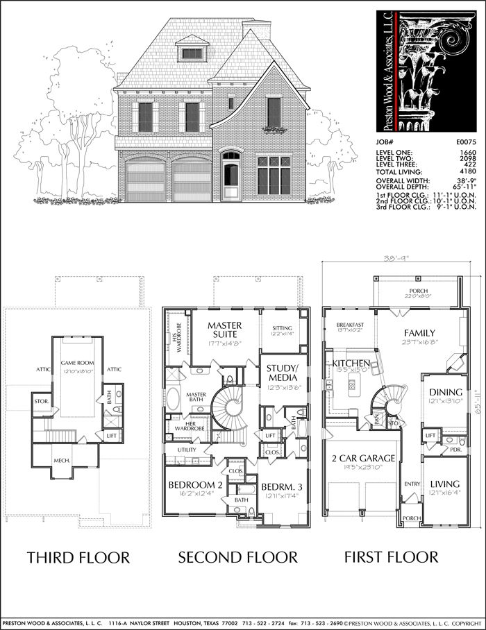 Urban House Plan E0075   House plans, Vintage house plans ...