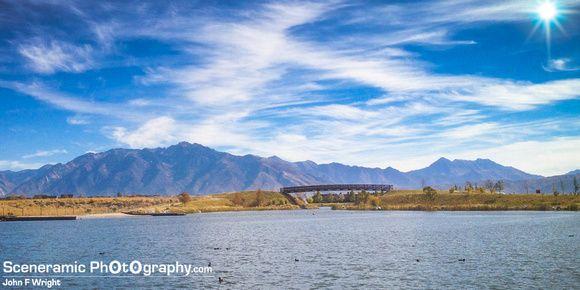 USA, Utah, Daybreak, Oquirrh Lake