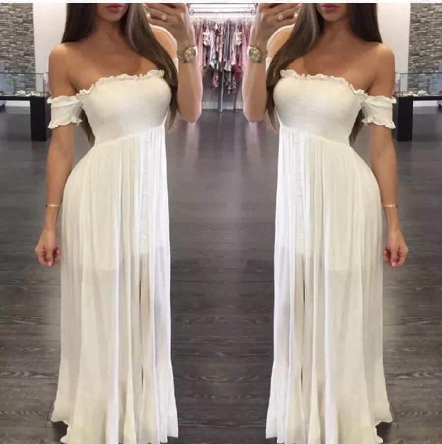 Awesome amazing us women long maxi beach white dress evening party