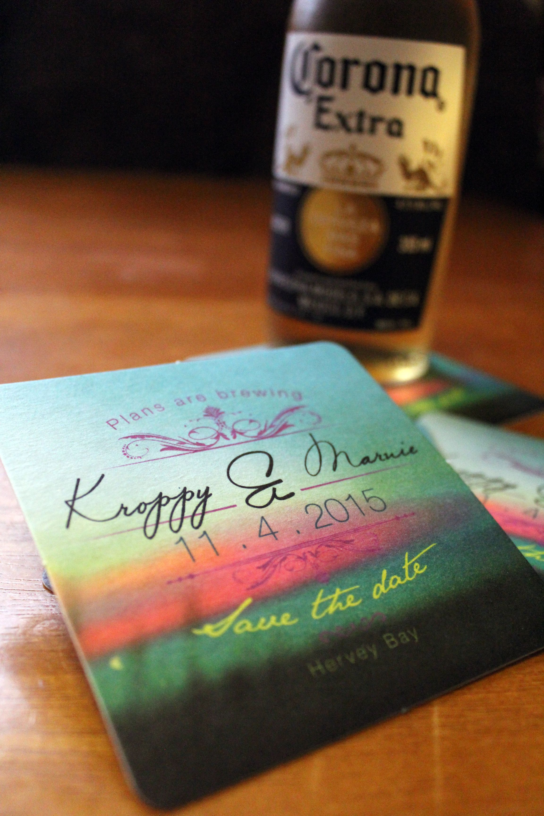 Coaster wedding save the date card design, J-Mo Creative