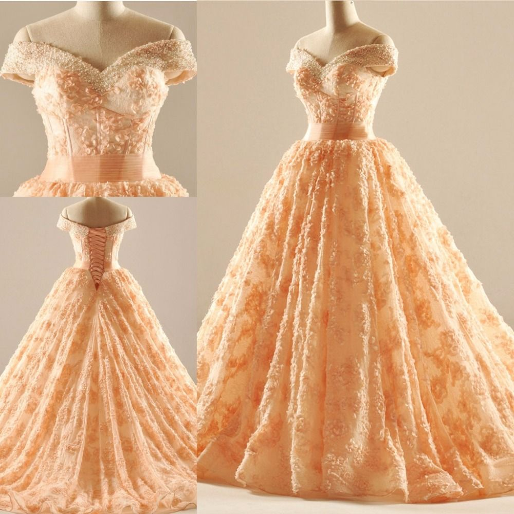Luxurious orange wedding dresses off the shoulder cap sleeve ball