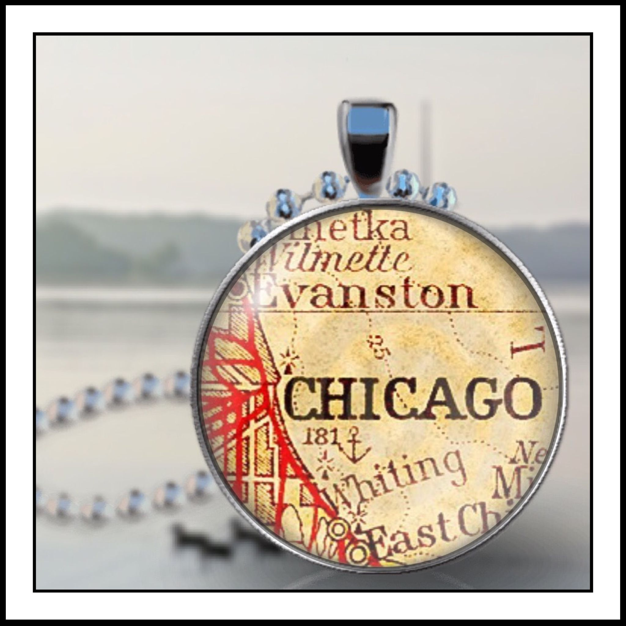 Chicago Illinois Vintage City Map Pendant By Bull Run Vintage - Chicago map necklace