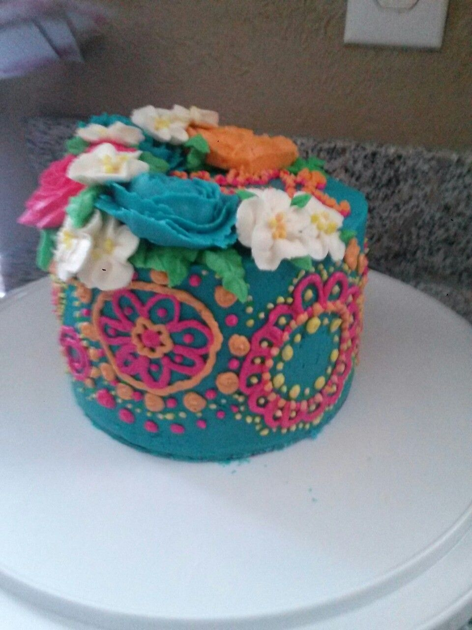 Henna Inspired Cake Buttercream Roses Flowers A Cupcake Aday Cakes