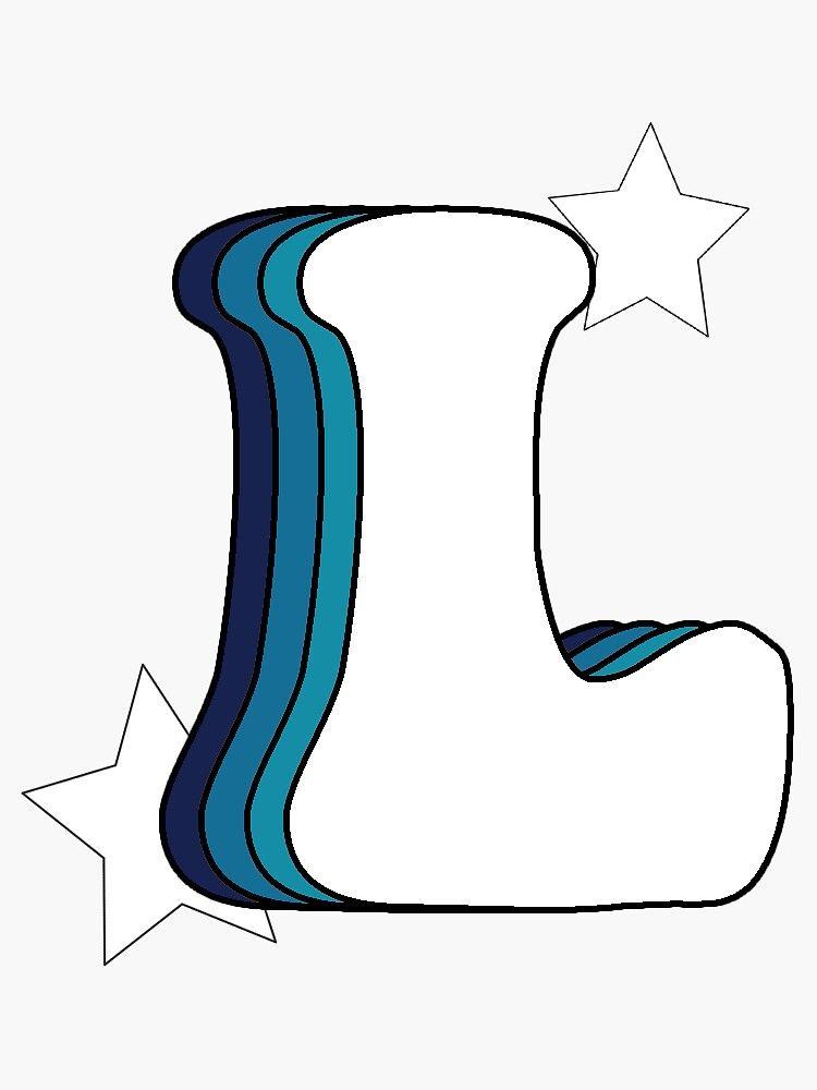 Retro L Blue Sticker By Kapatton99 Redbubble Print Stickers Pop Stickers Cool Stickers