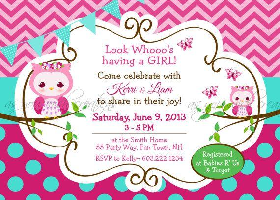 owl owls baby shower girl invite chevron polka dots cute pink, Baby shower invitations