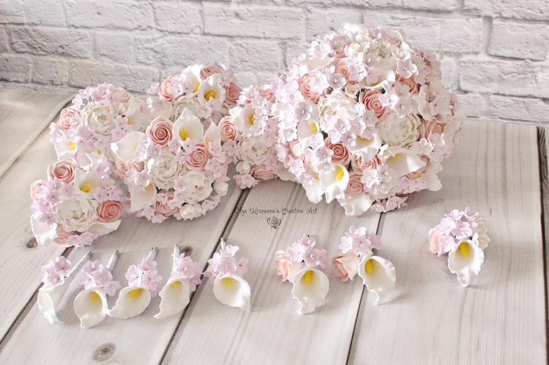 Cherry Blossom Wedding Set Keepsake Blush Roses White Calla Lilly