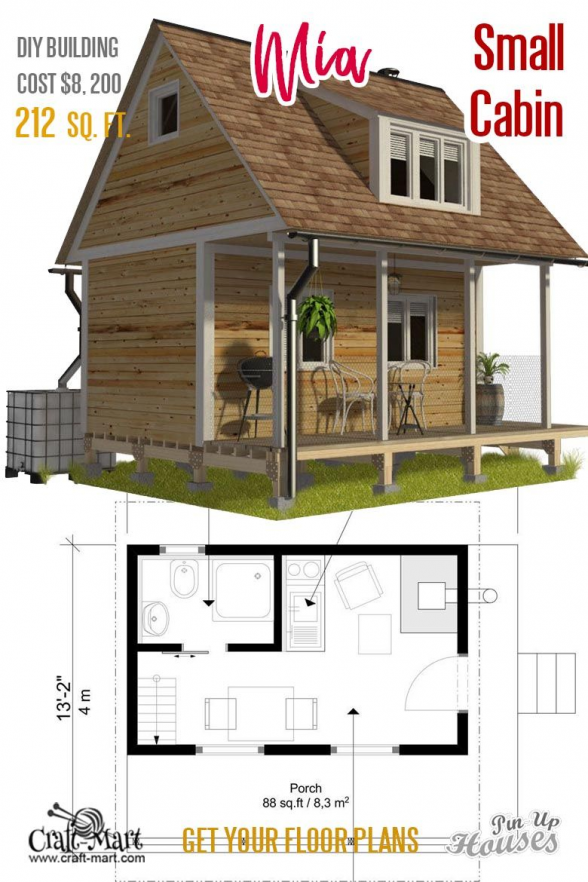 Mia Small House Plans With A Loft Bedroom Mia Tiny Home Is An Example Of A Traditional Small House Unique House Plans Small Cabin Plans Small House Floor Plans