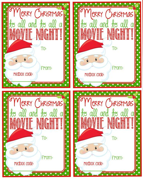 Printable Christmas Redbox Gift Tag Merry by Pinkowlpartydesign ...