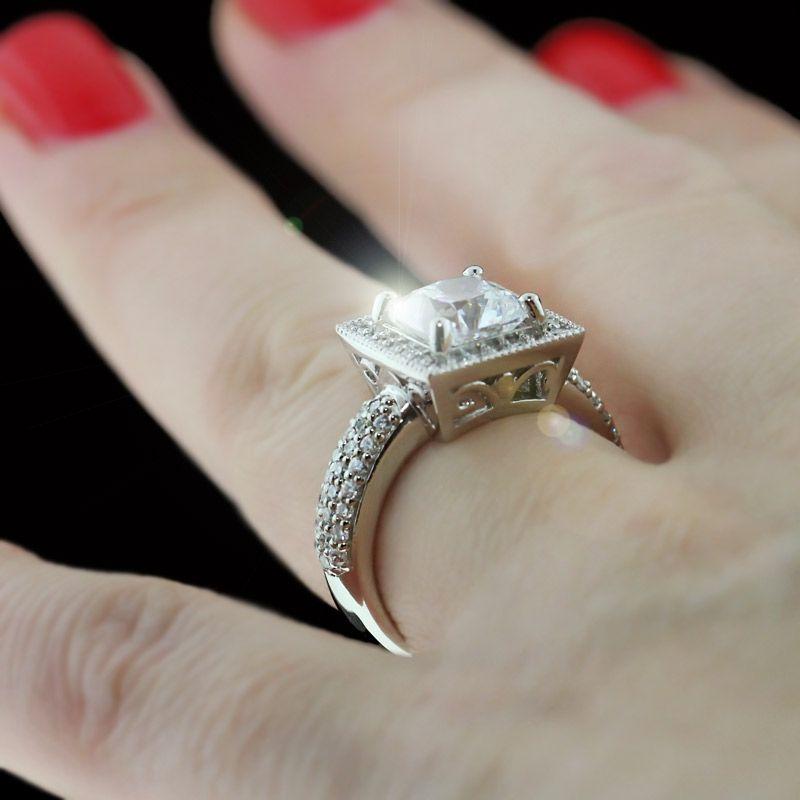 Princess cut Diamond Hybrid® in pavé set halo design | Jewelery ...