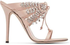 1d2a6e7a92a5c Shop for Giuseppe Zanotti Madelyn Crystal-embellished Satin Mules - Blush  at ShopStyle. Now for £915.
