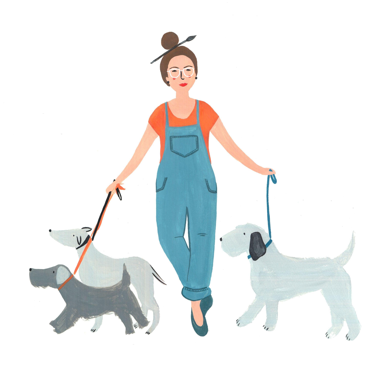 Crazy Dog Lady Illustration Animal Illustration